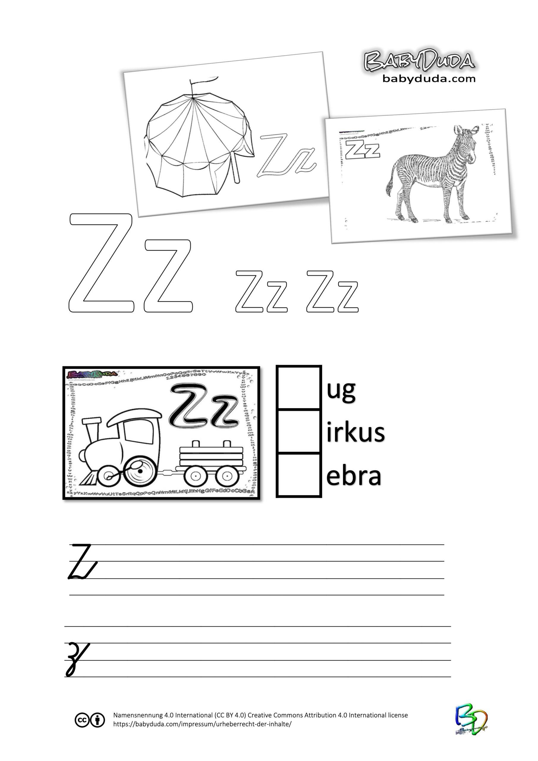 ABC-Ausmalbuch-Arbeitsblatt-Z