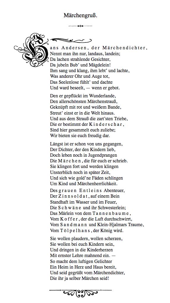 Märchengruß Andersens Märchensammlung Babyduda Andersens Märchen