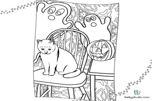 Halloween Katze Ausmalbild - Malvorlage Kürbis und Geist ausmalen