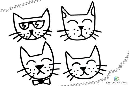 lustige Katzenköpfe Ausmalen - Malvorlage Tierbilder ausmalen