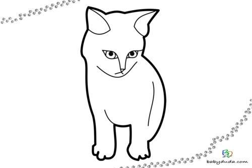Einfaches Kätzchen - Malvorlage Tierbilder ausmalen