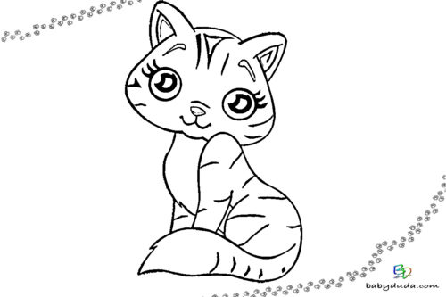 Süßes Katzenausmalbild - Tiervorlage ausmalen