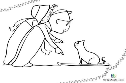 Katze und Kind - Malvorlage Tierbilder ausmalen