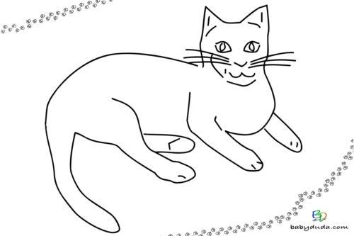 Katzen liegend Umriss - Malvorlage Tierbilder ausmalen