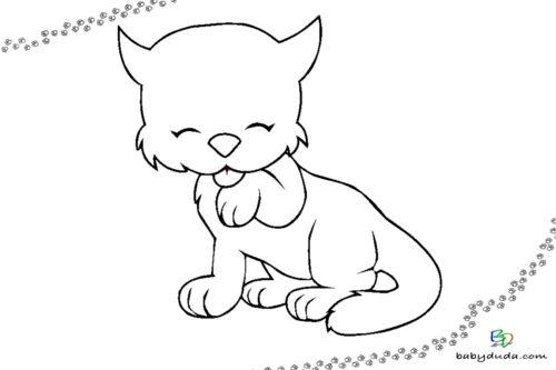 Süße Katze Ausmalbild - Tiervorlage ausmalen