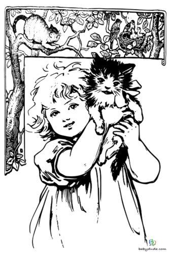 Katze und Kind Malvorlage Tierbild ausmalen für größere Kinder