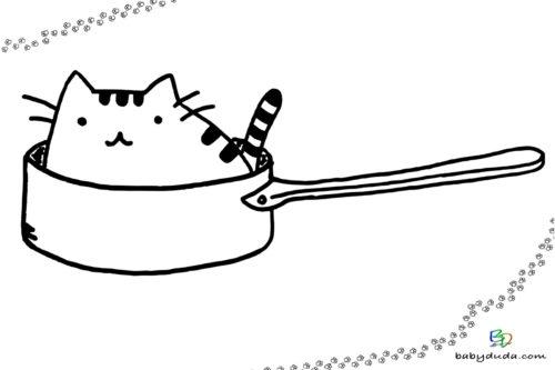Lustige Katze zum Ausmalen Ausmalbild - Malvorlage Tiere