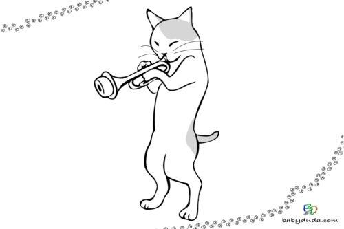 Ausmalbild Musik-Katze - Malvorlage Tierbild mit Trompete ausmalen
