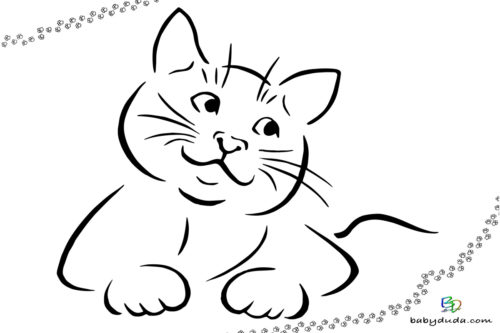 Ausmalbild liegende Katze - Malvorlage  ausmalen