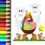 Vorlagen mit Osterbildern mit Lustiger Henne und kleinem Lämmchen zum Ausschneiden, Ausmalen und Basteln