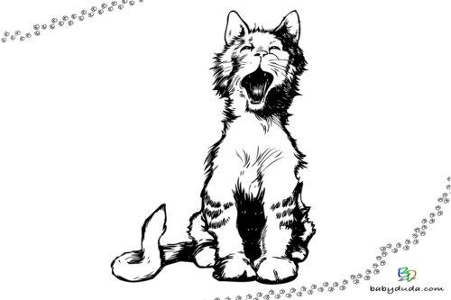 Katze miaut Ausmalbild - Malvorlage Tierbilder ausmalen