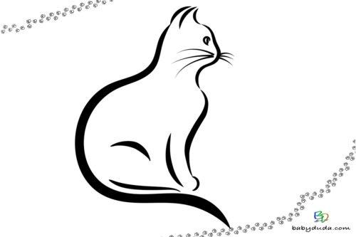 Katzenbild einfach - Malvorlage Tierbilder ausmalen