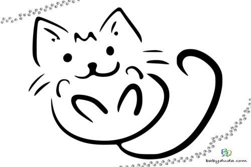 Katzenausmalbild einfach - Malvorlage Tierbilder ausmalen