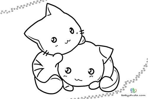 Süße Kätzchen Ausmalbild - Malvorlage Tierbilder ausmalen