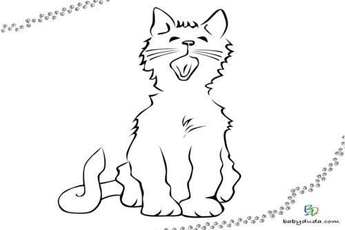 Süßes Kätzchen Ausmalbild - Malvorlage Tierbilder ausmalen