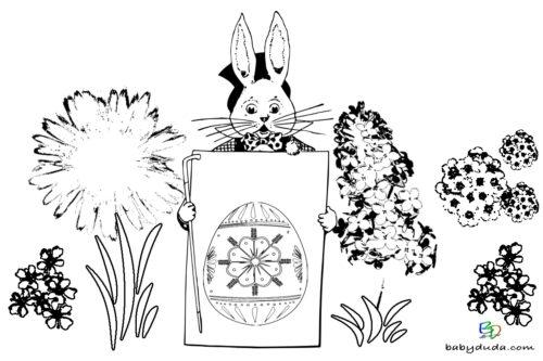Ostern Ausmalbild Hase im Frühling