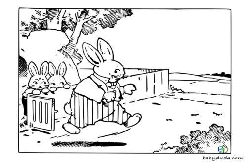 Ostern Ausmalbild Hasenfamilie