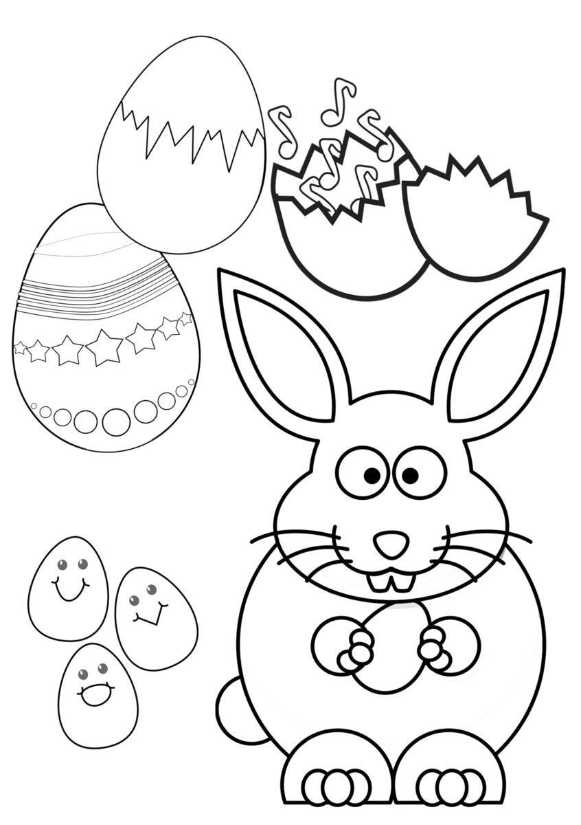 Oster-Ausmalbilder: Osterhase, Ostereier, Osterkücken kunterbunt