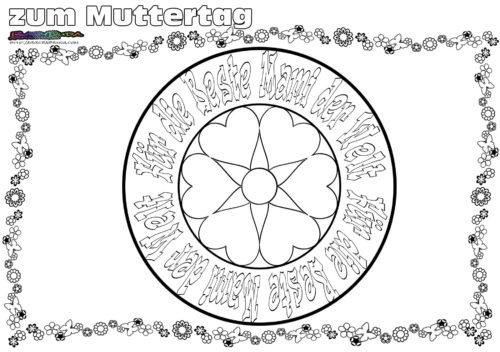 Mandala für Mami - Ausmalbild zum Muttertag