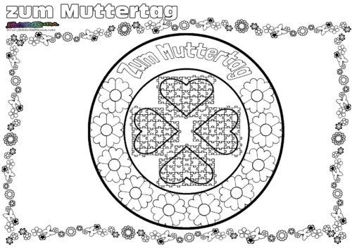 Mandala Blumen - Ausmalbild zum Muttertag
