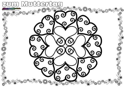Mandala für Kinder - Ausmalbild zum Muttertag