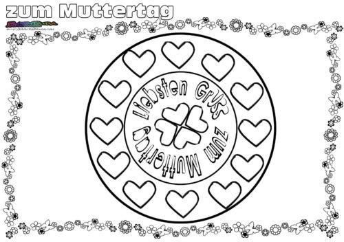 Mandala Gruß - Ausmalbild zum Muttertag