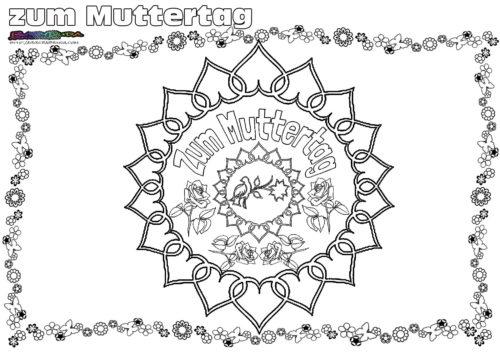 Mandala Rose - Ausmalbild zum Muttertag