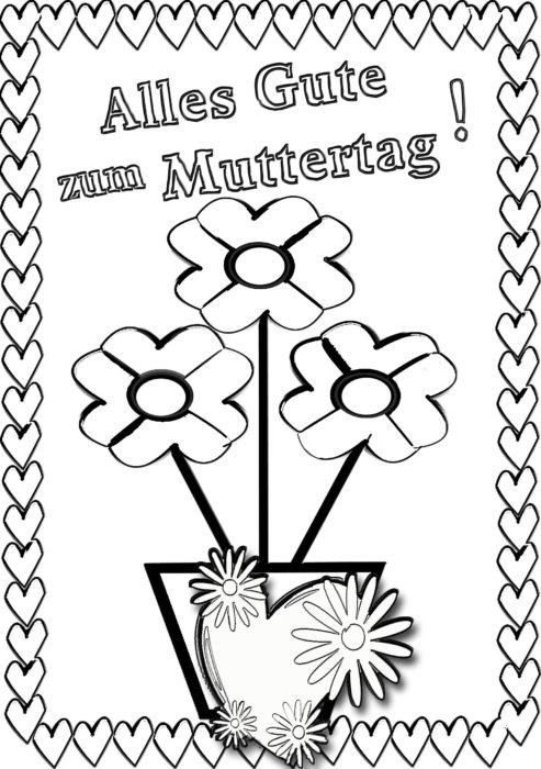 Muttertag Ausmalbild Malvorlage Gruß Mit Herz Babyduda Malbuch