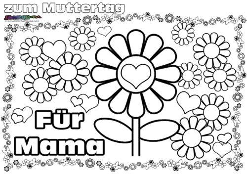 Muttertag Ausmalbild Malvorlage Gruss Mit Herz Babyduda Malbuch
