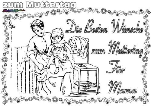 Ausmalbild für größere Kinder Muttertag