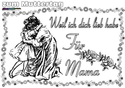 Muttertag Ausmalbild Malvorlage Gruß Mit Herz