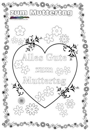 Muttertag Blumenherz Ausmalbild
