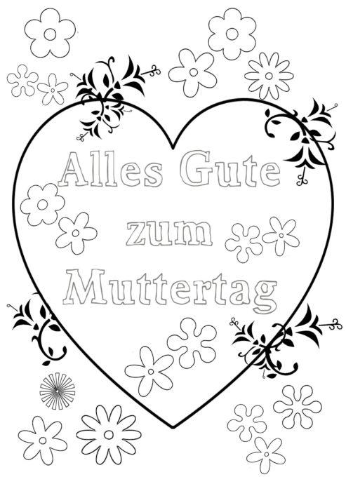 Muttertag-Blumenherz-Ausmalbild