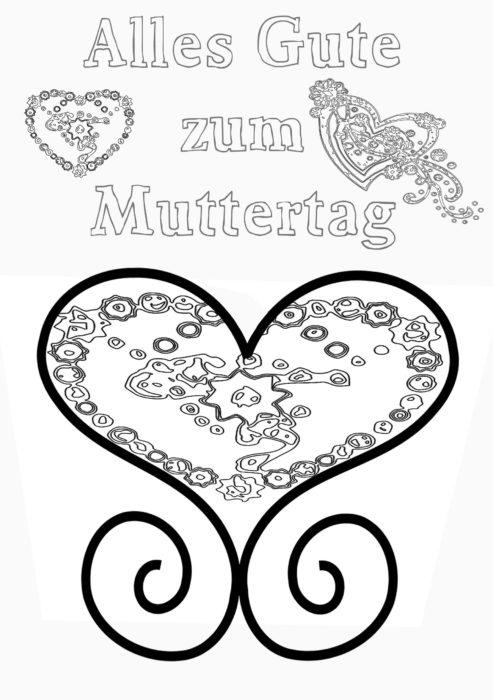 Muttertag-Herzchen-Ausmalbild