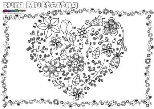 Ausmalbild Blumenherz