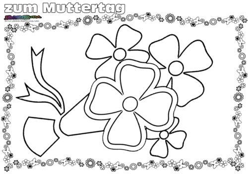 Ausmalbild Blumenstrauß zum Muttertag.