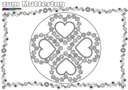 Muttertag Mandala Herz Ornament Ausmalen Babyduda Malbuch