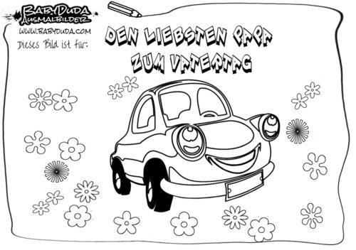Ausmalbild Vatertag - Auto