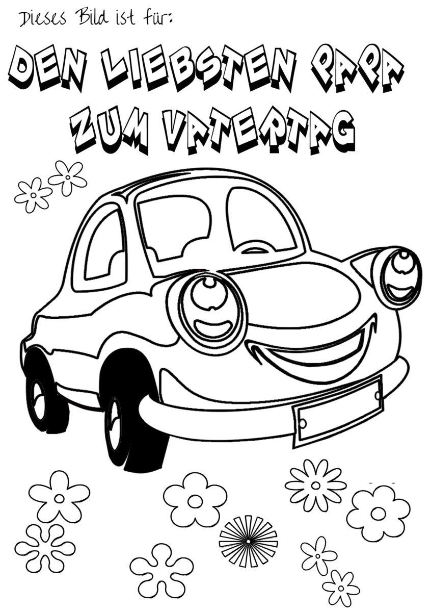 Kostenloses Vatertag Malbild Motiv Auto zum ausmalen