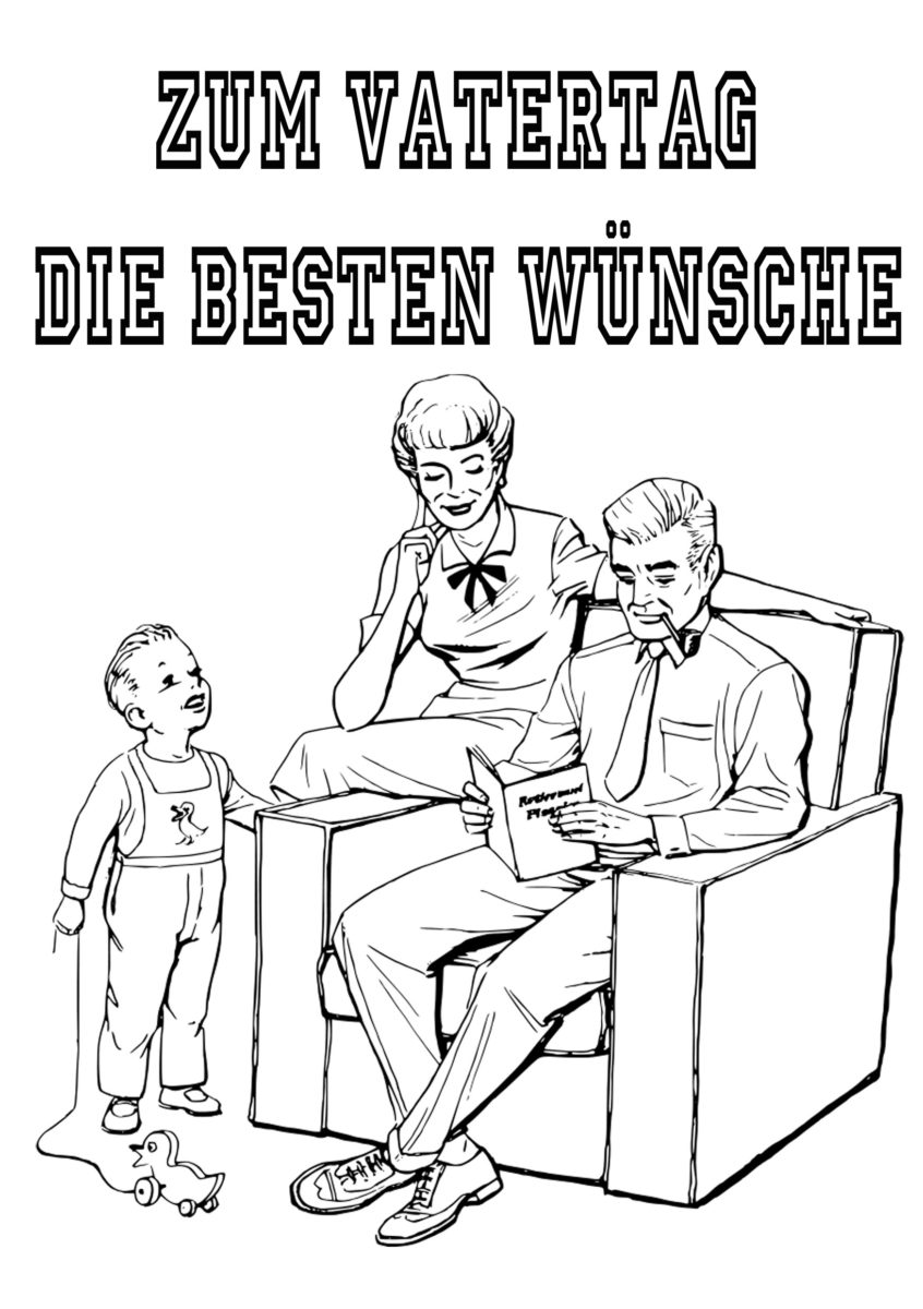 Vatertag Gratis Malvorlage Klassisches Motiv Familie