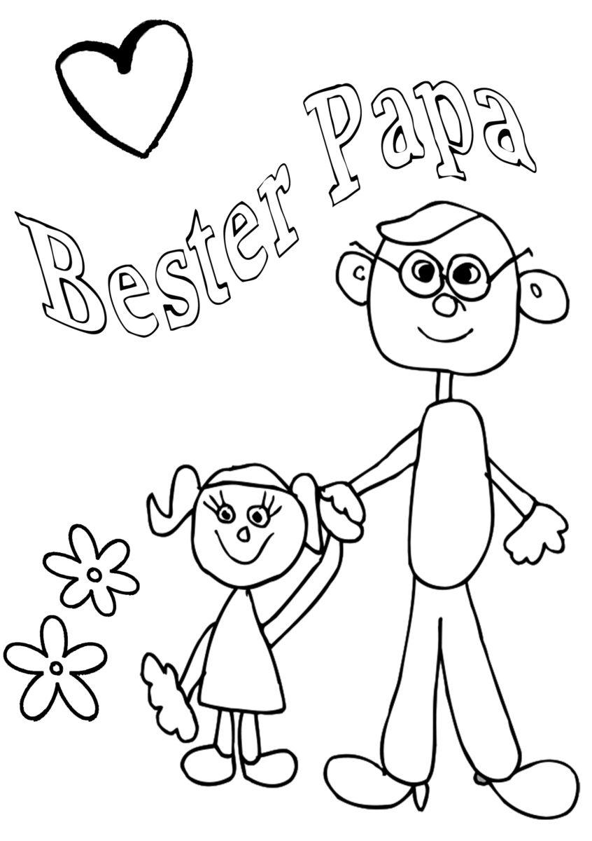 Gratis Vatertag Malvorlage Bester Papi zum ausmalen