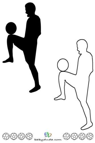 Fußball - Scherenschnitt & Ausmalbild 2