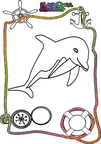 Ausmalbild Meer Delphin. Malvorlagen Tiere aus dem Meer