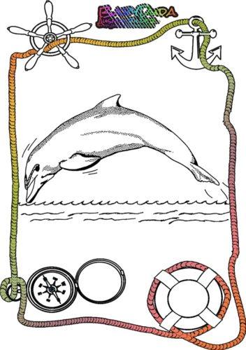 Ausmalbild Meer Delphine