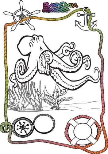 Ausmalbild Meer Krake