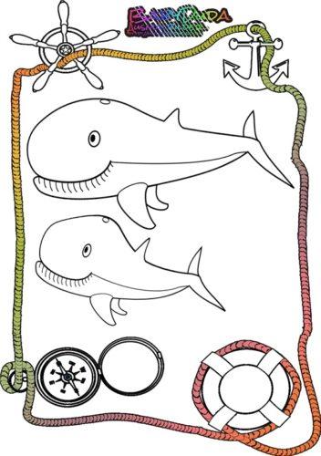 Ausmalbild Meer Wal