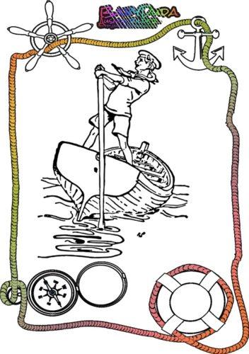 Ausmalbild Sommer Seemann