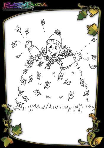 Herbst-Kind-Malvorlage