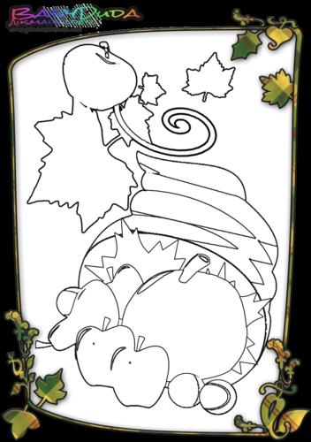 Herbst-Obst-Malvorlage