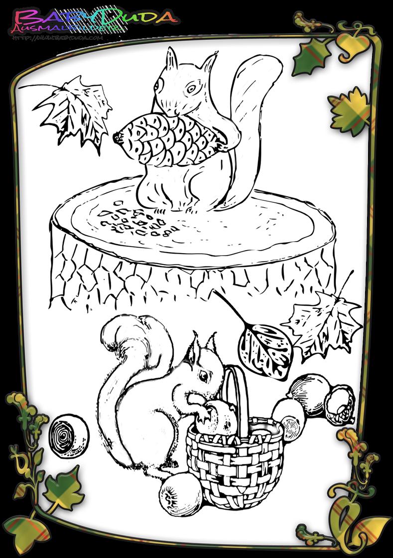 Ausmalbilder Herbst Motive : Herbst Ausmalbilder Herbstmotiv Herbstlaub Tiere Babyduda Malbuch